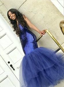 Royal Blue Deep V Neck Sequin Top Tulle Bottom Long Mermaid Prom Dress