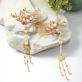 Small Fresh Flower Pearl Tassel Comb Headpieces Wedding Accessories