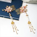 Small Fresh Flower Pearl Tassel Comb Headpieces Wedding Accessories