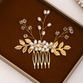 Pearl Hair Comb Golden Leaf Handmade Headpieces For Wedding Party