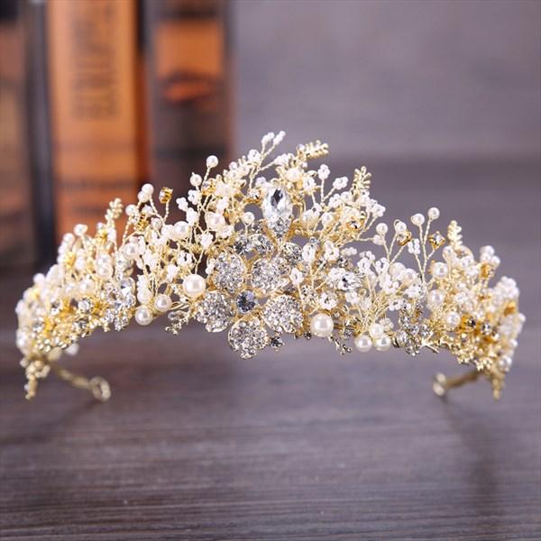 Modest Crystal Rhinestone Crown Gold Handmade Alloy Pearl Bridal Tiara