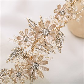 Chic Alloy Gold Headpieces Flower Rhinestone Headband Bridal Jewelry