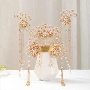Gold Alloy Beading Pearl Tassel Bridal Jewelry Set Wedding Accessories