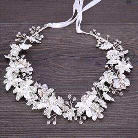 Handmade Flower Beading Headbands Alloy Rhinestone Bridal Headpieces