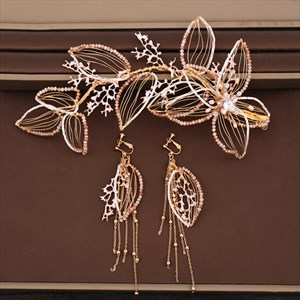 Crystal Headbands Tassel Earrings Set Hand-Woven Wedding Accessories