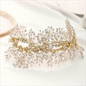 Alloy Beading Headpieces Handmade Rhinestone Golden Leaf Headbands