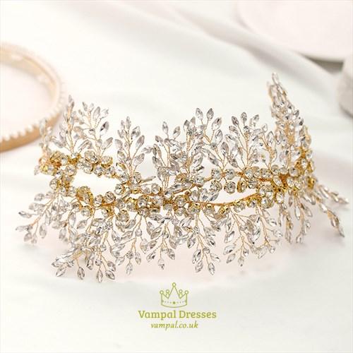 Alloy Beading Headpieces Handmade Rhinestone Golden Leaf Headbands