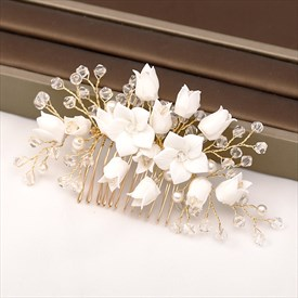 Alloy Crystal Flower Headpieces Handmade Hair Comb Wedding Accessories
