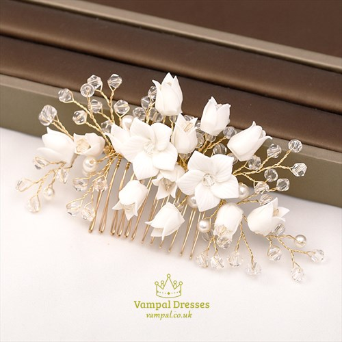 Alloy Crystal Flower Headpieces Handmade Hair Comb Wedding Accessories