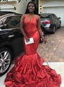 Glamorous Red Mermaid Sequin Sheer Illusion Sleeveless Long Prom Dress