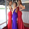 Red Jewel Embellished High Neck Sleeveless Prom Dresses With Open Back