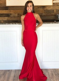 Red Mermaid High Neck Sleeveless Backless Floor Length Evening Dresses