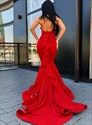 Red Mermaid High Neck Halter Backless Evening Dresses With Ruffle Back