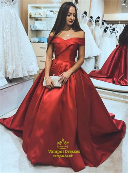 Elegant Red Satin Off-The-Shoulder Sweetheart Ball Gown Prom Dresses