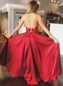 Red V-Neck Halter Sleeveless Beaded Lace Bodice Backless Prom Dresses