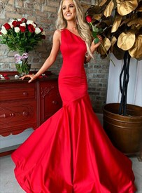 Elegant Red Trumpet/Mermaid One-Shoulder Floor-Length Evening Dresses