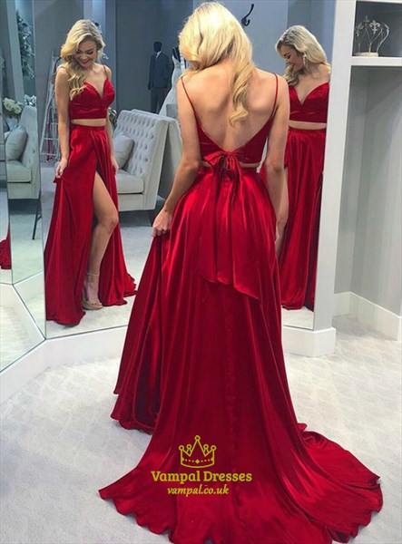 Two Piece V Neck Spaghetti Straps Backless Prom Dress With Bow On Back