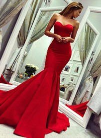 Graceful Red Strapless Sweetheart Mermaid Satin Prom Dress With Train