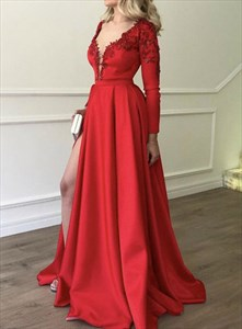 Red Deep V-Neck Lace Applique Long Sleeve Prom Dresses With Side Split
