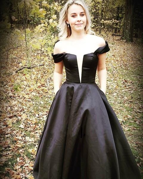 Red Deep Plunge V Neck Off The Shoulder Long Prom Dresses With Pockets