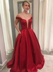 Red Deep Plunge V Neck Off The Shoulder Long Prom Dresses With Pockets