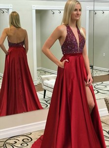 Red Beaded Bodice Low V Neck Halter Split Front Prom Dress With Pocket