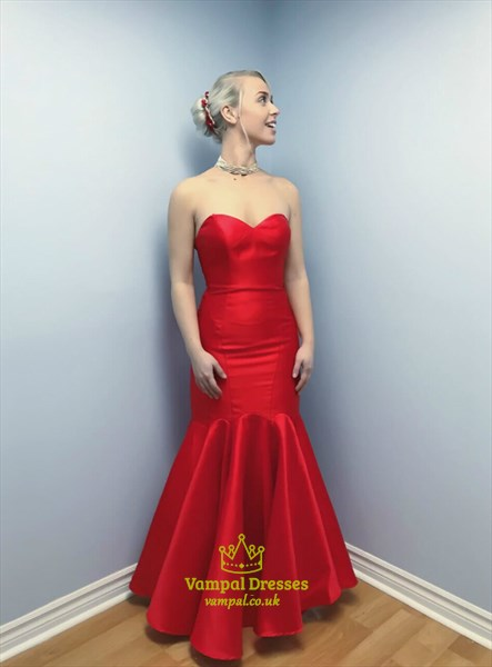 Gorgeous Red Mermaid Long Satin Strapless Sweetheart Prom Party Dress