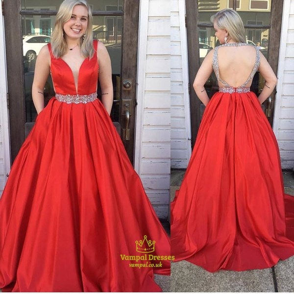 Red Deep Plunge V Neck Sleeveless Open Back Evening Dress With Beading
