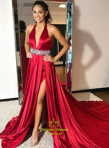 Red Low V-Neck Halter Top Split Front Prom Dress With Beaded Waistband