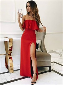 Elegant Red Strapless Ruffle Top Long Prom Party Dress With Side Split
