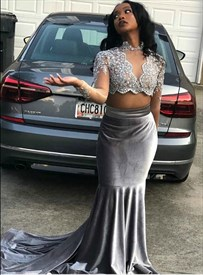 Silver Two Piece Beaded Bodice Lace Applique Long Sleeve Prom Dresses