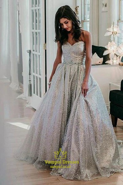 Sparkly Silver A-Line Sequin Overlay Strapless Sweetheart Prom Dresses