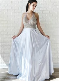 Sliver Beaded Bodice V Neck Halter Evening Prom Dresses With Open Back