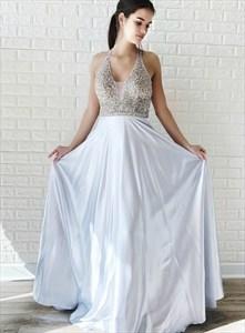 Sliver Beaded Bodice V Neck Halter Evening Prom Dresses With Open Back