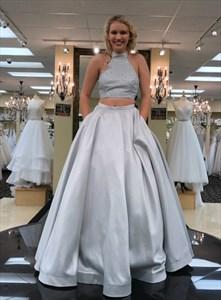 Sliver Beaded Bodice High-Neck Halter Sleeveless Satin Long Prom Dress