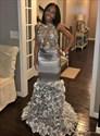 Sliver Halter Sheer Lace Applique 3D Floral Open Back Long Prom Dress