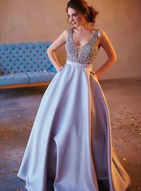 Sliver Beaded Bodice Embellishment V Neck Sleeveless Satin Prom Dress