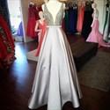 Sliver Beaded Bodice Embellishment V Neck Sleeveless Satin Prom Dress