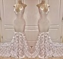 Ivory Long V Neck Halter Mermaid Prom Dresses With 3D Flowers Applique