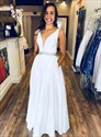 Elegant White V-Neck Sleeveless Long Evening Gowns With Beaded Bands