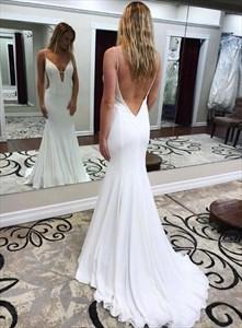 Ivory Plunging V Neck Mermaid Spaghetti Strap Backless Long Prom Dress