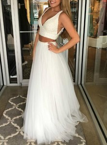 Ivory Two Piece Long V-Neck Tulle Prom Party Dress With Beaded Bodice