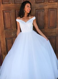 White Off The Shoulder Tulle Prom Wedding Dresses With Beaded Bodice