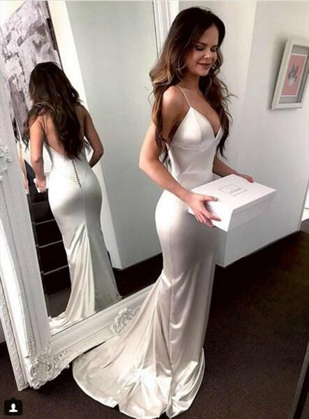 Ivory V Neck Spaghetti Strap Mermaid Long Prom Dresses With Open Back