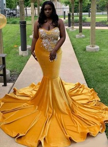 Yellow Sweetheart Embellished Beaded Bodice Mermaid Prom Evening Dress