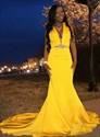 Yellow Plunging V Neck Sleeveless Mermaid Long Prom Dresses With Train