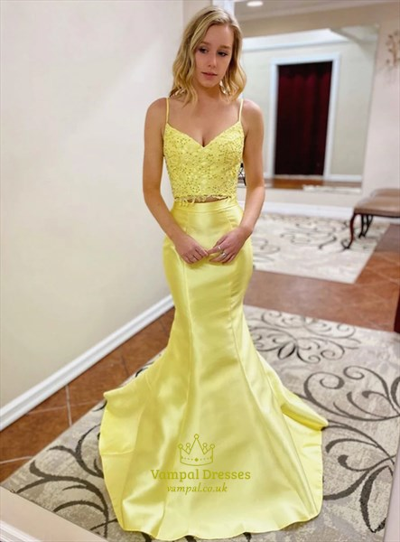 Yellow Mermaid Two Piece Spaghetti Strap Lace Applique Long Prom Dress