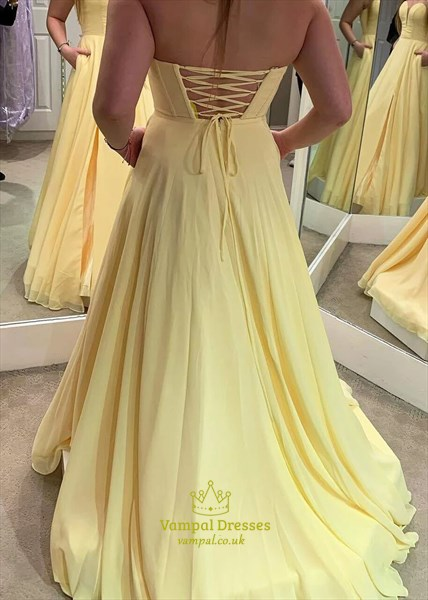 Light Yellow Chiffon Strapless Sweetheart Prom Dress With Lace Up Back