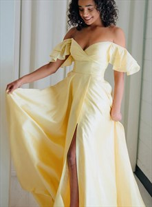 Yellow Off The Shoulder Split Front Prom Dress With Butterfly Sleeves