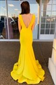 Yellow Deep V Neck Ruched Sleeveless Mermaid Prom Dress With Open Back